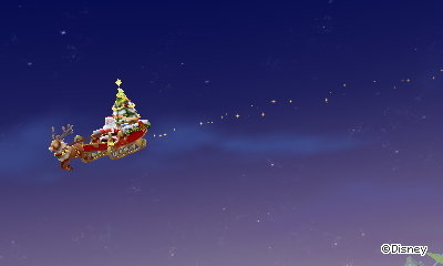 Santa Claus and his sleigh approach Castleton in DMW2.