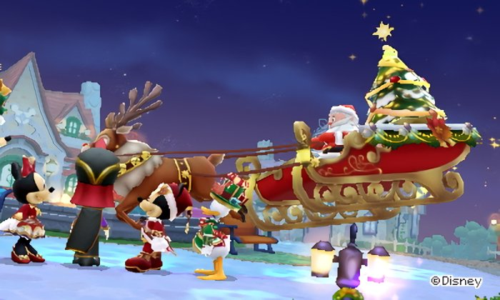 Santa Claus lands his sleigh in Castleton in Disney Magical World 2.