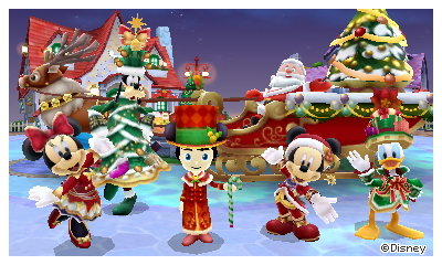 A commemorative photo with Santa, Mickey, Minnie, Donald, and Goofy.