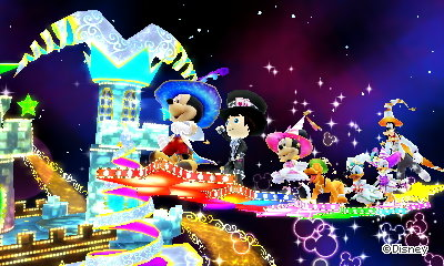 Flying on stars in the Shiny Star dream in Disney Magical World 2.