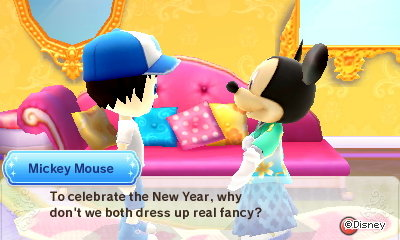 Mickey Mouse: To celebrate the New Year, why don't we both dress up real fancy?