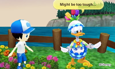 Donald Duck, dressed as an Easter egg: Might be too tough...