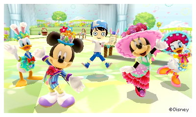 An Easter party in the cafe in Disney Magical World 2 for 3DS.