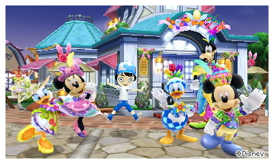 A commemorative photo of Daisy, Minnie, Donald, Goofy, and Mickey Mouse in their Easter costumes.