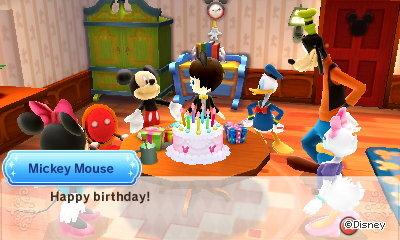 Mickey Mouse, at my birthday party: Happy birthday!