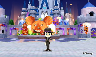 Halloween decorations at the Magic Castle in Disney Magical World 2 for Nintendo 3DS.
