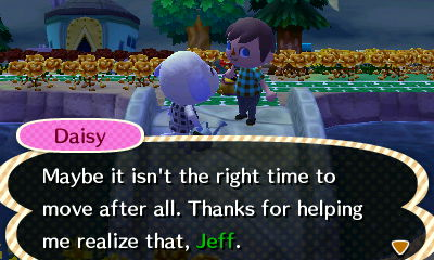 Daisy: Maybe it isn't the right time to move after all. Thanks for helping me realize that, Jeff.