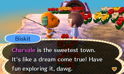Biskit: Charvale is the sweetest town. It's like a dream come true! Have fun exploring it, dawg.