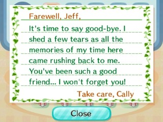 Cally's goodbye letter.