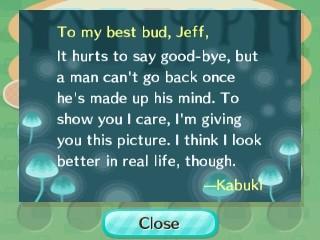 Kabuki's goodbye letter.