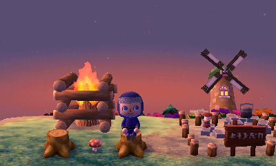 A fire pit, windmill, and campground in Hotel Dojo.
