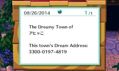 This town's Dream Address: 3300-0197-4819.