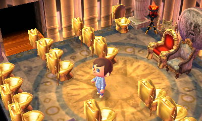 Throne room full of golden toilets.