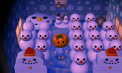 A room full of snowmen.