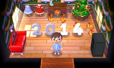 A Christmas themed room that's already for the new year with a large 2014 spelled out in number lamps.