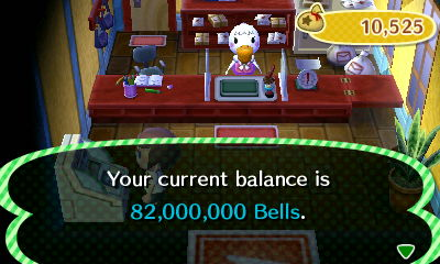 Your current balance is 82,000,000 bells.