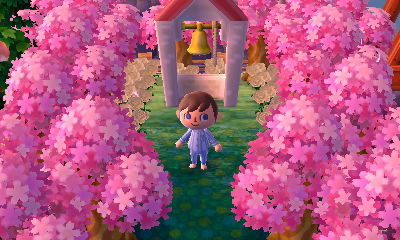 A bell PWP surrounded by pink trees in Pastelia.