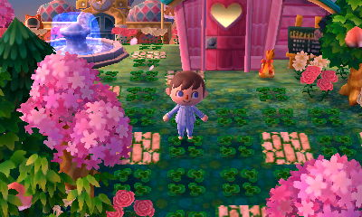 Four-leaf clover paths, a fountain, pink trees, and Re-Tail as seen in Pastelia.