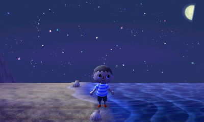 Jeff walking on the beach at night.