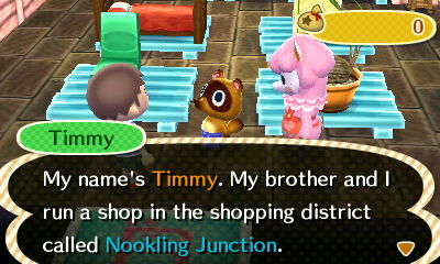 Timmy: My name's Timmy. My brother and I run a shop in the shopping district called Nookling Junction.