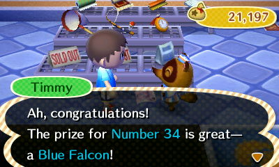 Timmy: Ah, congratulations! The prize for Number 34 is great--a Blue Falcon!