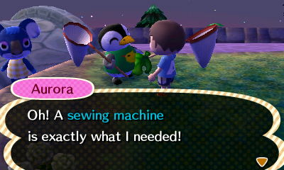 Aurora: Oh! A sewing machine is exactly what I needed!