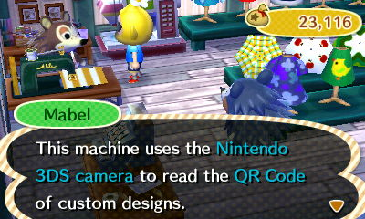 Mabel: This machine uses the Nintendo 3DS camera to read the QR Code of custom designs.
