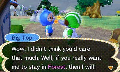 Big Top: Wow, I didn't think you'd care that much. Well, if you really want me to stay in Forest, then I will!