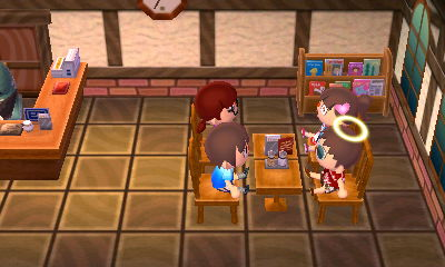 Hanging out in the Roost cafe with friends.