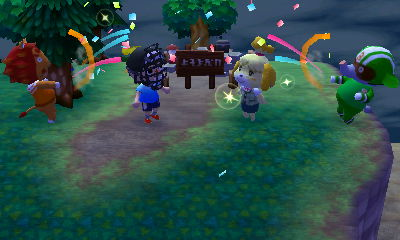 Party poppers get fired off at the completion ceremony for the campsite.