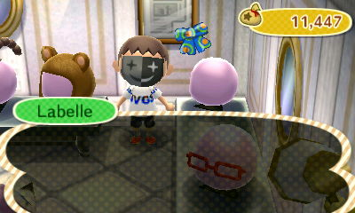 Me wearing my new clown mask in Able Sisters.