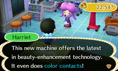 Harriet: This new machine offers the latest in beauty-enhancement technology. It even does color contacts!