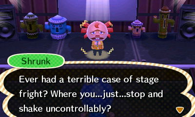 Shrunk, using the fearful emotion: Ever had a terrible case of stage fright? Where you...just...stop and shake uncontrollably?