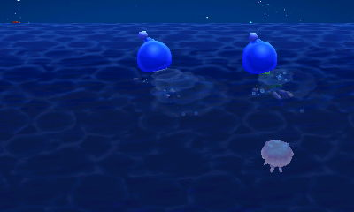Jeff and Wendy, both dressed as blue Pikmin, fleeing from a jellyfish.