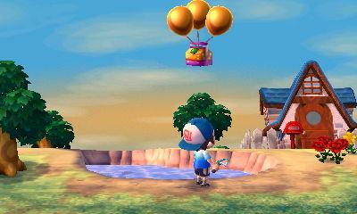 A golden slingshots floats overhead on three gold balloons!