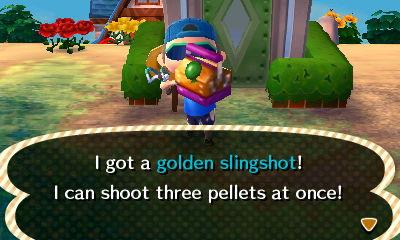 I got a golden slingshot! I can shoot three pellets at once!