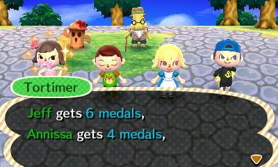 Tortimer: Jeff gets 6 medals, Annissa gets 4 medals.
