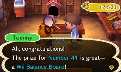 Tommy: Ah, congratulations! The prize for Number 41 is great--a Wii Balance Board!