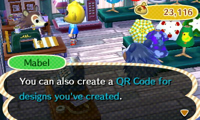 Mabel: You can also create a QR code for designs you've created.