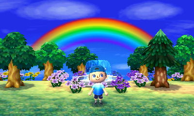 A rainbow appears over the fountain in my New Leaf town.