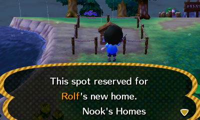 Sign: This spot reserved for Rolf's new home. -Nook's Homes