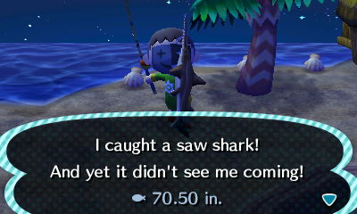 I caught a saw shark! And yet it didn't see me coming!