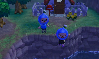 Blue Pikmin diving off a cliff.