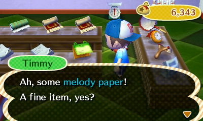 Timmy: Ah, some melody paper! A fine item, yes?