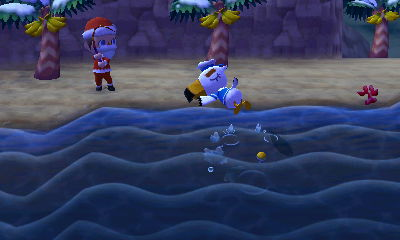 Santa Jeff fishing in the ocean as a sleeping Gulliver naps nearby.