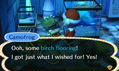 Camofrog: Ooh, some birch flooring! I got just what I wished for! Yes!