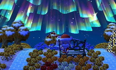 The northern lights up in the sky as I sit on my metal bench near my illuminated tree in Animal Crossing: New Leaf.