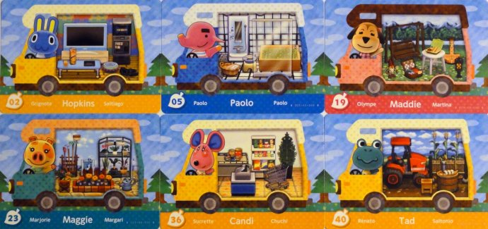 My 2nd pack of Welcome Amiibo cards: Hopkins, Paole, Maddie, Maggie, Candi, and Tad.