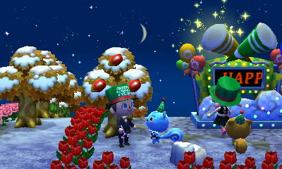 Filbert pushes me away from the New Year's Eve celebrations in Acorn.