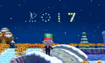 2017 fireworks on New Year's Eve in ACNL.